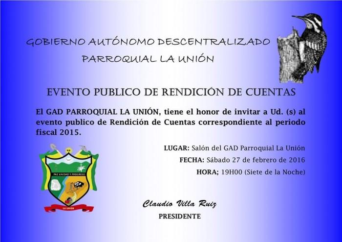 Invitacion Rendicion de Cuentas 2015